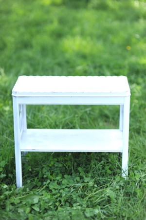 White Chinoiserie End Table