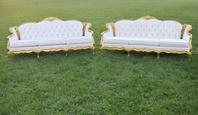 gold and cream vintage sofas
