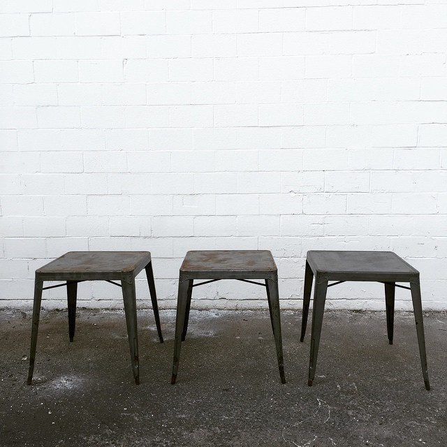 I am so EXCITED to introduce these three industrial square tables. The patina is literally making me giddy!!! I'd love to see these used for drinks or a guest book...or even a sweet heart table! #vintagerentals #industrial #dcevents #furniturerentals #dc #aCreativeDC