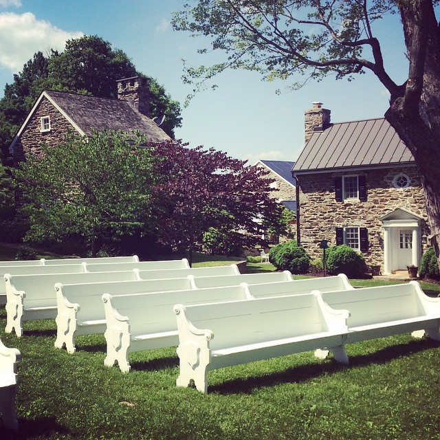 Our Victorian pews sitting pretty at The Maples in Upperville, Va with @middleburgeventsstudio.  Can't wait to see it all come together tomorrow! #vintage #vintagerentals #virginiaweddings #virginia #loudoun #create #adccreative