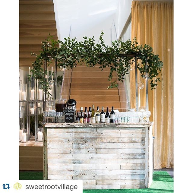 I'm loving these beautiful vines by @sweetrootvillage on top of our Warder whitewashed bar.You ladies never disappoint!   Planning:  @rgievents || Blooms: @sweetrootvillage || Cocktails + Grub: @heirloomdc  #weddinginspiration #dc #reclaimed #reclaimedwood #salvage #whitewash #dcevents #vintagerentals #vintage #pretty #vines