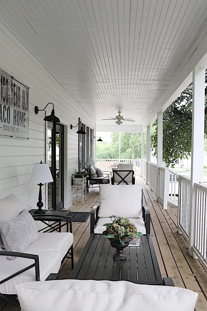 wrap around porch at our waco airbnb