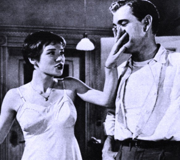 "Playful mood? Shirley and her brother (Earl Holliman) didn't hit it off any too well in ""Hot Spell."""