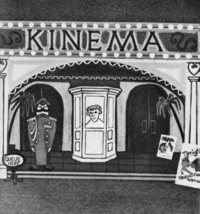 """A favourite cartoon of John Halas is the satirical """"The History of the Cinema,"""" which had the distinction of being chosen as a supporting feature to a Royal Film Performance."""