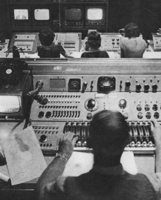What the viewers don't see: technicians at work during a news broadcast