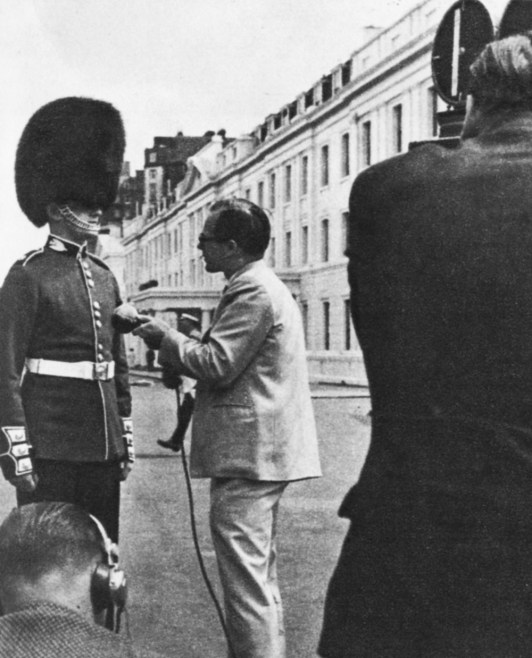 Interviews form an important part of the news service. Here a Guards officer is interviewed for ITN