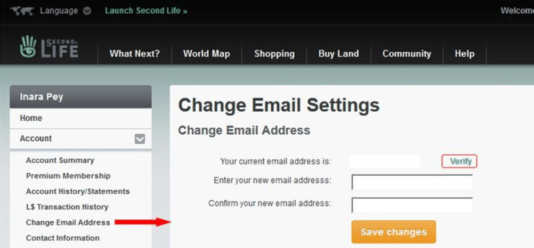 account ==> Change Email