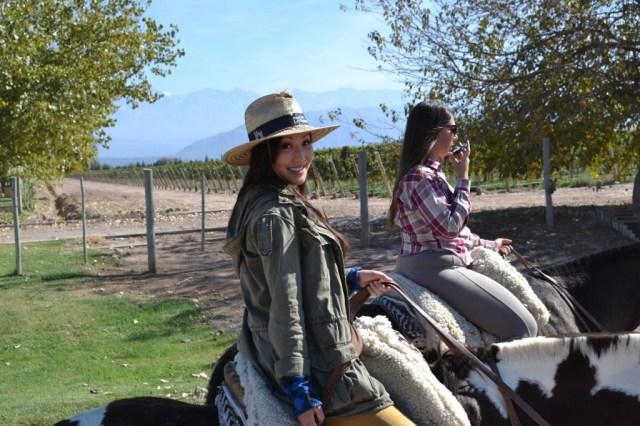 Riding on horseback through Mendoza Argentina