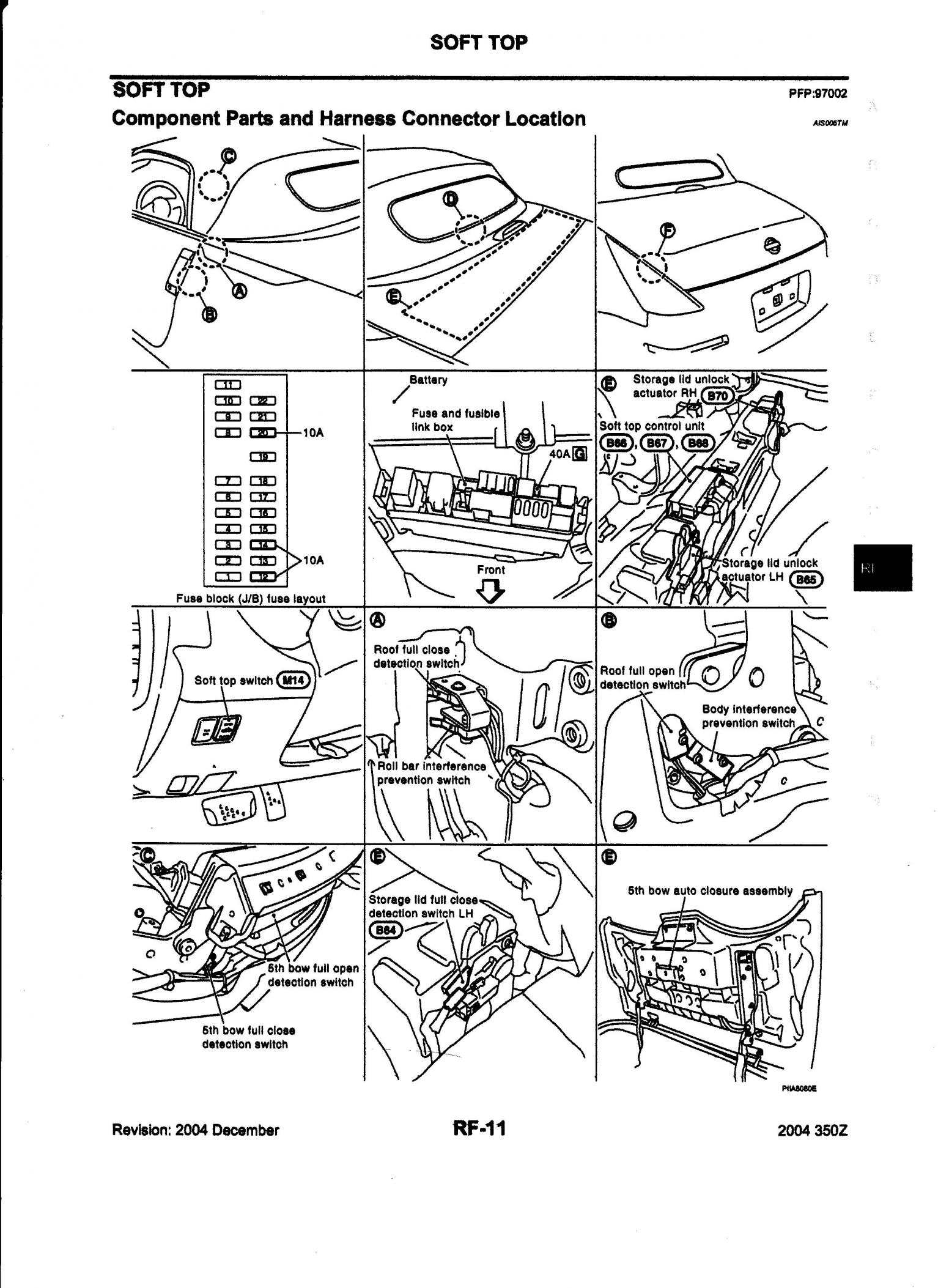 350z Convertible Top Diagram