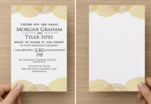 Hand drawn over gold leaf background. Simple stunning wedding invitation.
