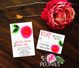 Single HotPink:Red Watercolor Flower Invitation Suite Design