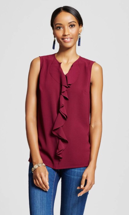 Women's Sleeveless Ruffle Front Blouse Wild Cherry - Merona