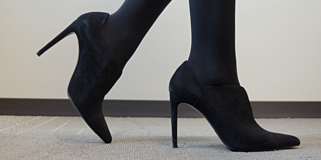 My9to5Shoes.com My 9 to 5 Shoes Black Booties and how to wear them with tights.
