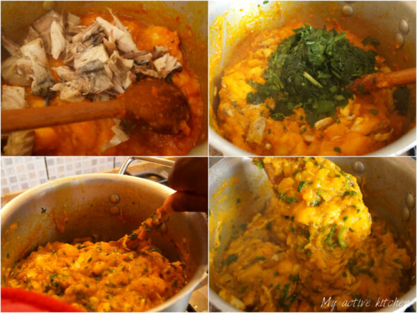 process shot of cooking yam porridge.