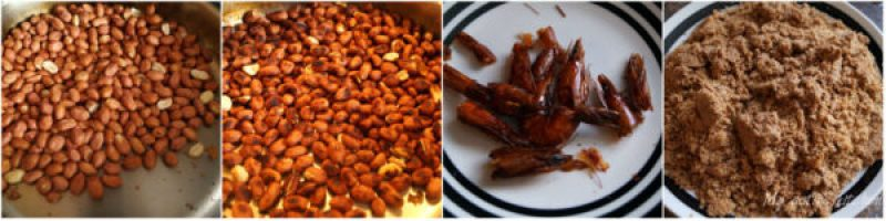 overhead image showing how to roast groundnut on stovetop and another image have ground peanut and dried prawns