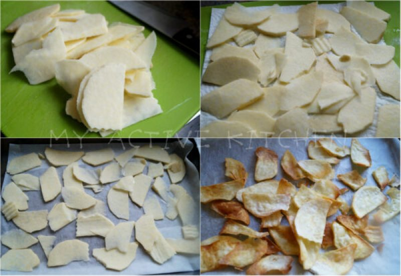 raw yam slices before and after it was baked