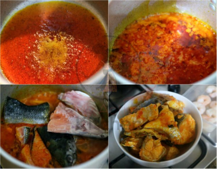 image collage of stew cooked with palm oil
