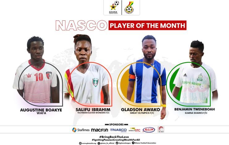 Gladson Awako, others nominated for GPL December player of the month award