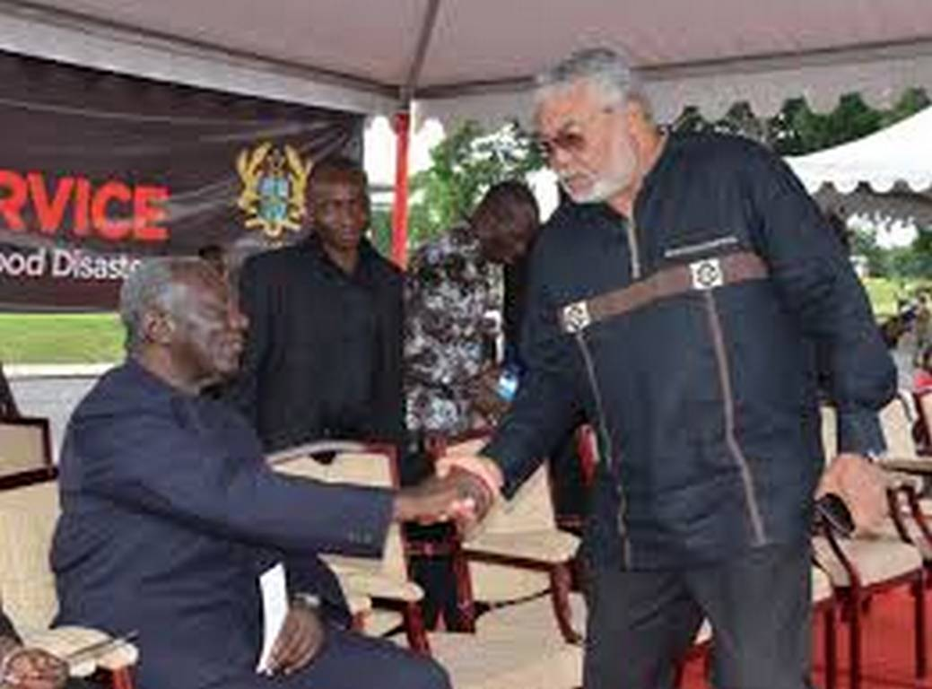 Watch video of Kufour filing past Rawlings' mortal remains