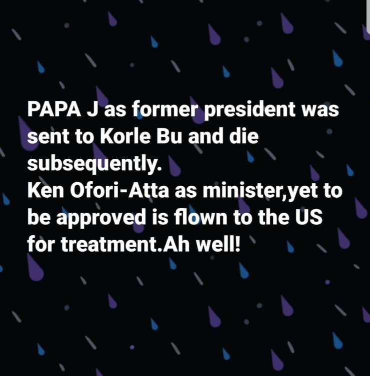 You left Rawlings to die at Korle But flying Ken Ofori-Atta to US for treatment – Akufo-Addo govt roasted