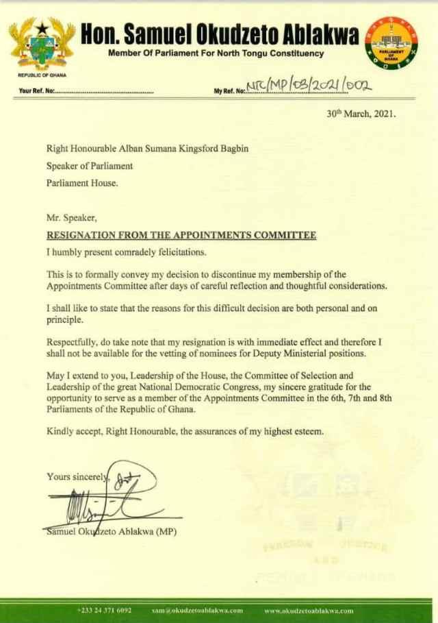 Hon Samuel Okudzeto Ablakwah resignation letter