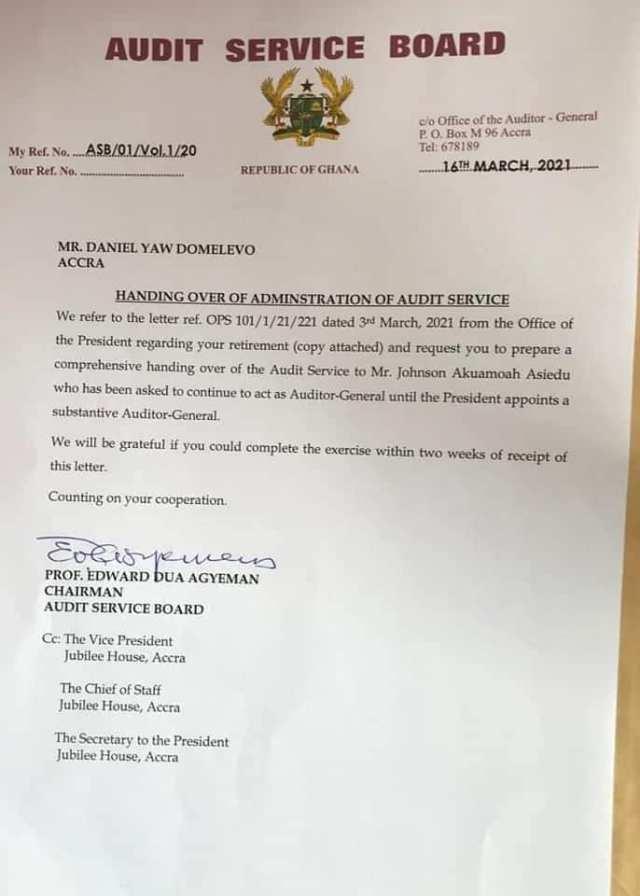 Audit Service Board letter to Mr Domelevo