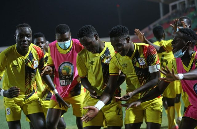 The Hippos of Uganda celebrate their win against the Young Carthage Eagles of Tunisia