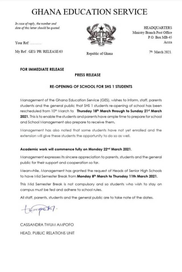 GES-letter for new reporting date for shs1