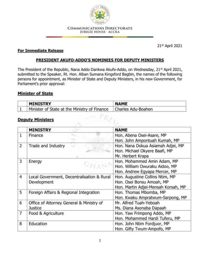 Deputy Ministers Nominees List