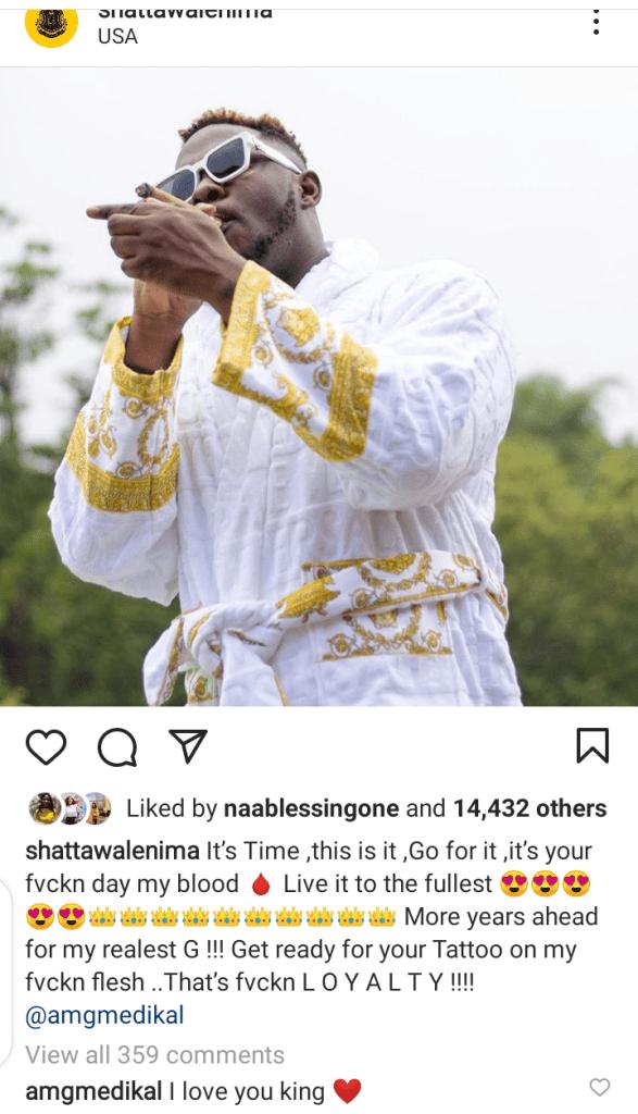 Screenshot of Shatta Wale's post to mark Medikal's 27th birthday