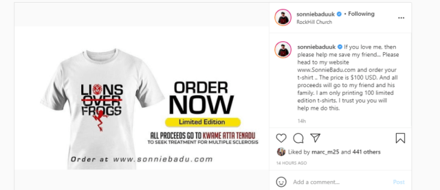 Sonnie Badu post on Instagram advertising Lion Over Frogs T-shirt