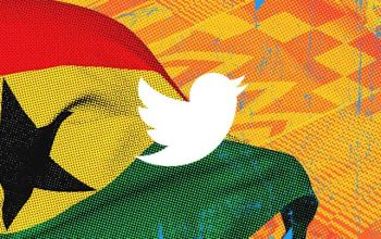 Twitter logo on Ghana flag