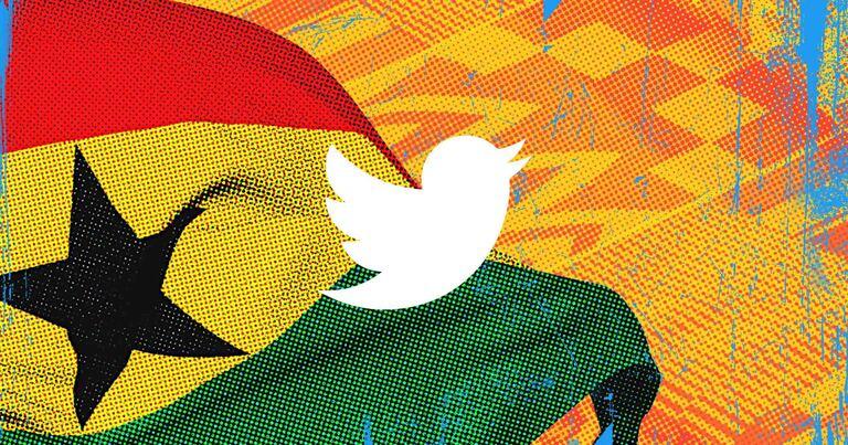 Twitter logo on Ghana flag