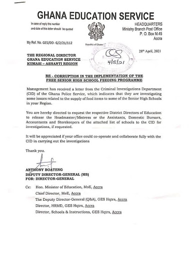 GES letter to the Ashanti regional director of the service