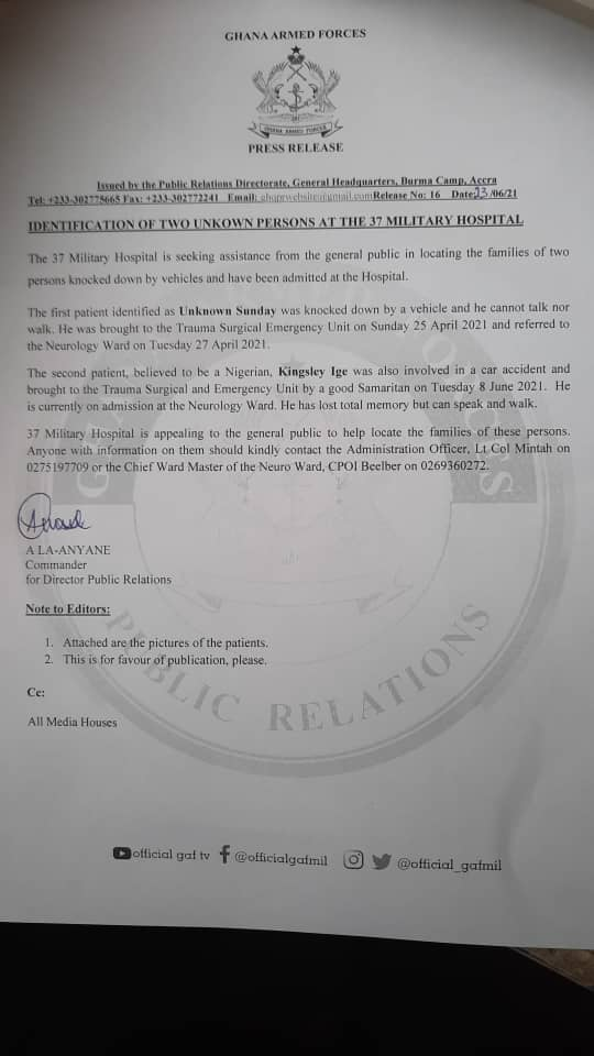 A statement of appeal by the 37 Military Hospital to the public to help locate families of two patients at the facility