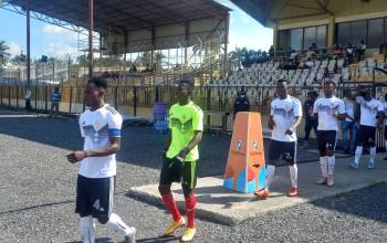 Kintampo Top Talent players walking out from the dressing room for their FA Cup quarter-final match against Ashanti Gold at Len Clay stadium on July 24, 2021