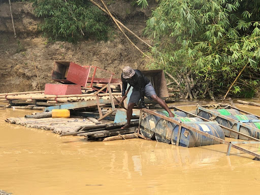 Galamsey: Illegal mining equipment on Ankobra river in Nzema East destroyed