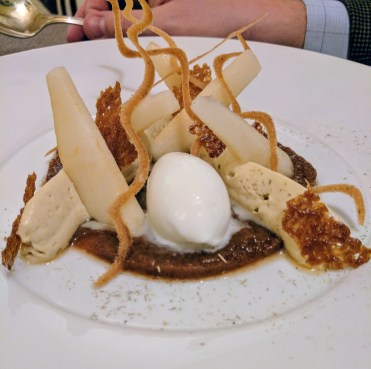 Pear conference w/ hay & goat cheese sorbet