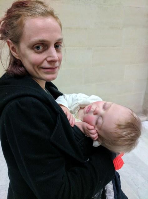 Benton sleeps throug the Louvre