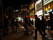 Police out with riot gear on Istiklal Street.