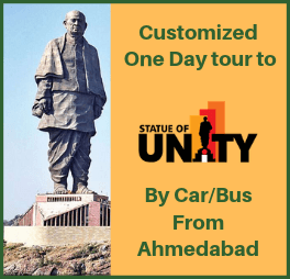 Statue of unity by car