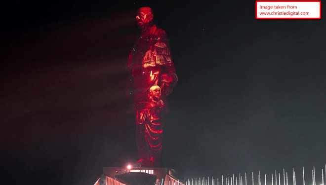 Laser show at statue of unity