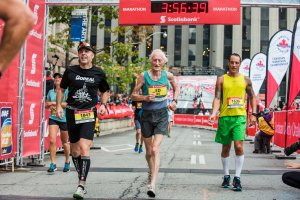 Ed Whitlock completed the Toronto Waterfront Marathon in 3 hours 56 minutes 34 seconds to become the oldest person to run 26.2 miles under four hours. Credit Todd Fraser/Canada Running Series