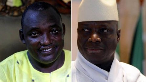 President elect Adama Barrow (left), and President Yahya Jammeh