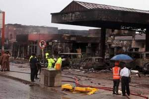 Scene at the exploded gas station