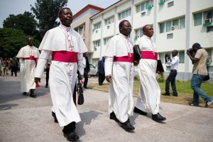 Congolese Catholic bishops before mediating talks between the opposition and the government of President Joseph Kabila of Congo in Kinshasa in December. Credit Thomas Mukoya/Reuters