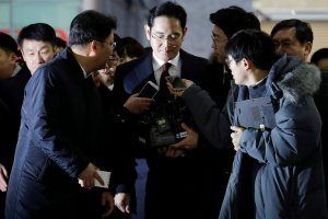 Jay Y. Lee, vice chairman of Samsung, in Seoul, South Korea, last week. A special prosecutor is seeking to arrest him on charges of bribing President Park Geun-hye. Credit Pool photo by Ahn Young-joon