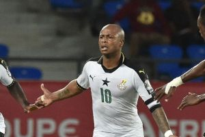 Ghana celebrate Andre Ayew's winner. ISSOUF SANOGO/AFP/Getty Images