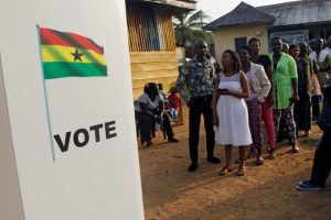People wait to vote in the presidential election in Kibi, Ghana, on Dec. 7, 2016. (Photo: Luc Gnago /Reuters/Newscom)