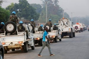 United Nations peacekeepers in Bouaké, Ivory Coast, on Friday, where a military revolt appeared to have surprised the government. Negotiations were said to have avoided a protracted standoff. Credit Thierry Gouegnon/Reuters